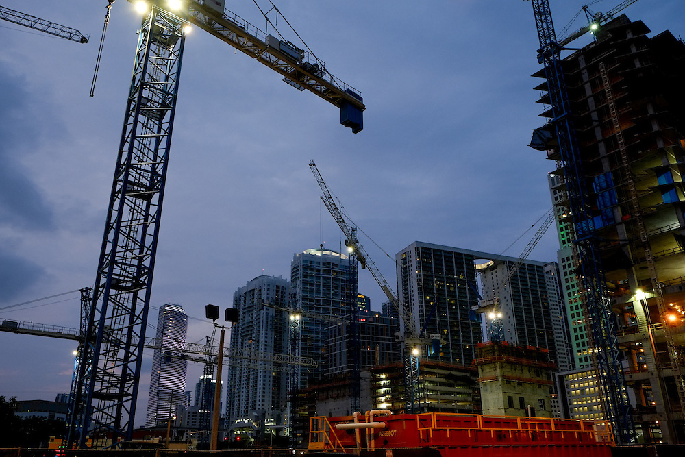 4/9/14----Miami, Florida---Photo by Angel Valentin<br /> Cranes dot the skyline in the Brickell neighborhood of Miami as high rises are built at a fast face as demand increases.