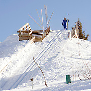 USA. Salt Lake City Olympic ski Park. Journlist Jonathan Thompson tests his nerve learning to ski jump, climaxing on the 40m jump. Three attempts were unsuccessfully landed and more than his pride was bruised.
