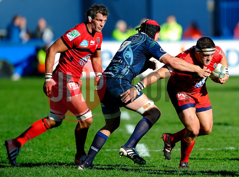 Toulon replacement (#17) Andrew Sheridan is tackled by Cardiff Number 8 (#8) Andries Pretorius during the second half of the match - Photo mandatory by-line: Rogan Thomson/JMP - Tel: Mobile: 07966 386802 21/10/2012 - SPORT - RUGBY - Cardiff Arms Park - Cardiff. Cardiff Blues v Toulon (RC Toulonnais) - Heineken Cup Round 2