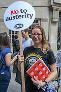 Hannah Lawson, National Museums of Wales. Branch chair. The People's Assembly & Stand up to Racism demo, Central London. Saturday the 16th of July 2016.
