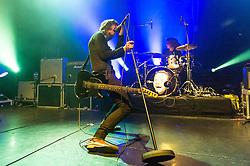 © Licensed to London News Pictures. 07/11/2014. London, UK.   Catfish and the Bottlemen performing live at KOKO .   In this picture - Ryan Van McCann (left), Bob Hall (right).  Catfish and the Battlement are composed of members Ryan Van McCann (Lead vocals, Rhythm guitar), Johnny 'Bondy' Bond (Lead Guitar), Benji Blakeway (Bass Guitar), Bob Hall – (Drums).  Photo credit : Richard Isaac/LNP
