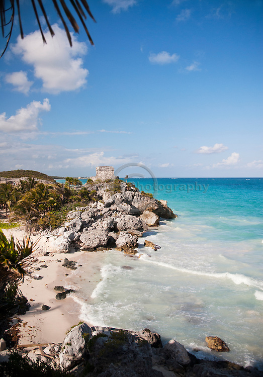 The Temple of the Wind in the mayan city of Tulum's archeological site.