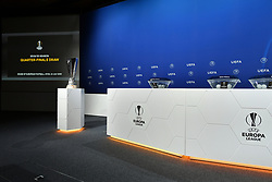NYON, SWITZERLAND - Friday, July 10, 2020: The stage for the Europa League draw during the UEFA Champions League and UEFA Europa League 2019/20 draws for the Quarter-final, Semi-final and Final at the UEFA headquarters, The House of European Football. (Photo Handout/UEFA)