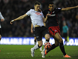 Derby Craig Forsyth Holds of Reading Nick Blackman, Derby County v Reading, FA Cup 5th Round, The Ipro Stadium, Saturday 14th Febuary 2015