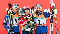 05.12.2015, Nordic Arena, NOR, FIS Weltcup Langlauf, Lillehammer, Herren, im Bild v.l.: Niklas Dyrhaug (NOR), Martin Johnsrud Sundby (NOR), Hans Christer Holund (NOR) // Niklas Dyrhaug of Norway, Martin Johnsrud Sundby of Norway, Hans Christer Holund of Norway during Mens Cross Country Competition of FIS Cross Country World Cup at the Nordic Arena, Lillehammer, Norway on 2015/12/05. EXPA Pictures © 2015, PhotoCredit: EXPA/ JFK