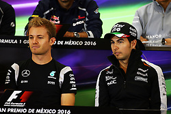 (L to R): Nico Rosberg (GER) Mercedes AMG F1 and Sergio Perez (MEX) Sahara Force India F1 in the FIA Press Conference.<br /> 27.10.2016. Formula 1 World Championship, Rd 19, Mexican Grand Prix, Mexico City, Mexico, Preparation Day.<br /> Copyright: Batchelor / XPB Images / action press