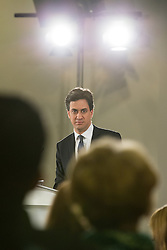 © Licensed to London News Pictures . 27/01/2015 . Sale , UK . Labour Party Leader , ED MILIBAND , delivers a speech on the NHS at The Life Centre in Sale , Greater Manchester . Today (27th January 2015) marks 100 days until the General Election in the UK . Photo credit : Joel Goodman/LNP