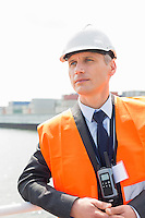 Middle-aged male worker in shipping yard