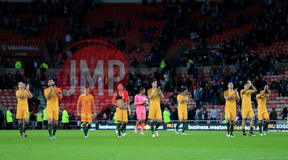 Australia players applaud their supporters - Mandatory by-line: Matt McNulty/JMP - 27/05/2016 - FOOTBALL - Stadium of Light - Sunderland, United Kingdom - England v Australia - International Friendly