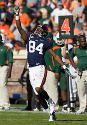 Virginia wide receiver Jared Green (84) celebrates after a pass reception that converted a fourth down.  The Miami Hurricanes defeated the Virginia Cavaliers 24-17 in overtime in a NCAA Division 1 Football game at Scott Stadium on the Grounds of the University of Virginia in Charlottesville, VA on November 1, 2008.