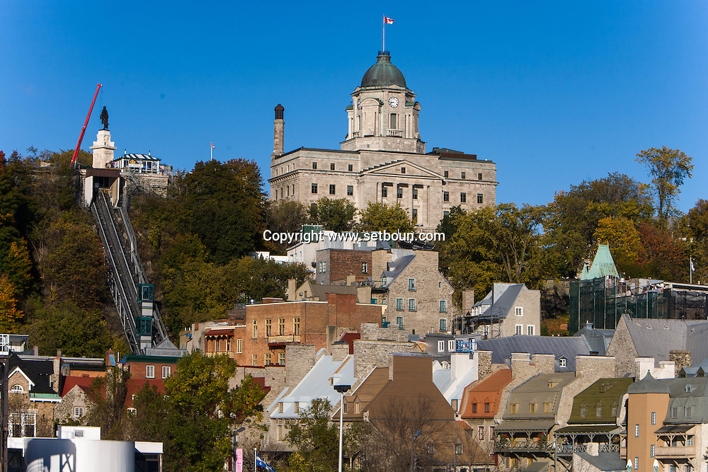 Canada. Quebec. the vieux Quebec, old Quebec city center, Champlain area   / la vielle ville . vieux quebec. quartier CHAMPLAIN
