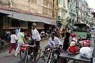 Myanmar, Yangon. Ordinary life in one of the streets of Yangon.
