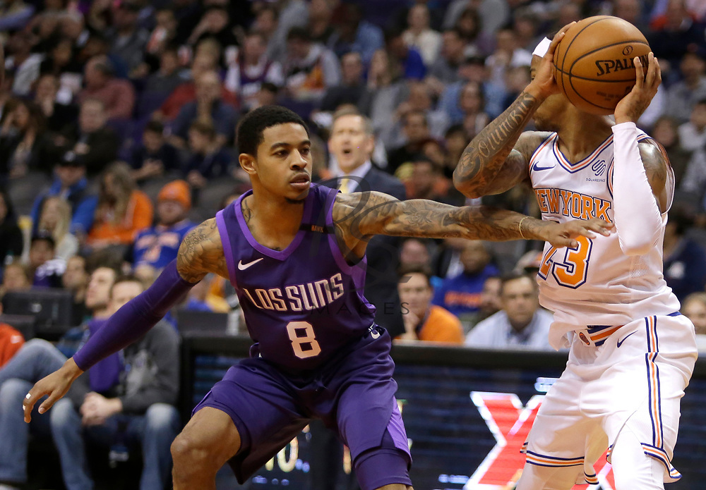 Phoenix Suns guard Tyler Ulis (8) in the first half during an NBA basketball game against the New York Knicks, Friday, Jan. 26, 2018, in Phoenix. (AP Photo/Rick Scuteri)