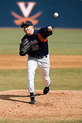 Virginia Cavaliers pitcher/firstbaseman Matt Packer (15) pitches against Delaware.  The Virginia Cavaliers Baseball Team defeated the Delaware Blue Hens 3-2 to complete the sweep of a three game series at Davenport Field in Charlottesville, VA on March 4, 2007.