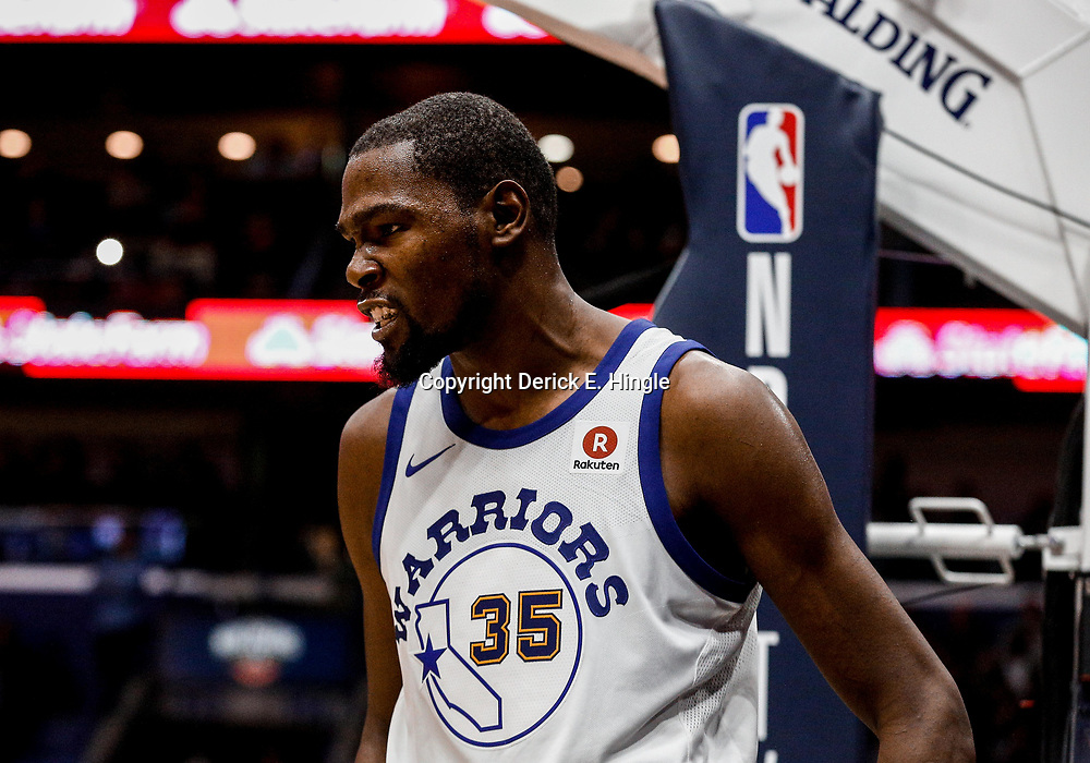 Oct 20, 2017; New Orleans, LA, USA; Golden State Warriors forward Kevin Durant (35) reacts after scoring and drawing a foul against the New Orleans Pelicans during the second quarter of a game at the Smoothie King Center. Mandatory Credit: Derick E. Hingle-USA TODAY Sports