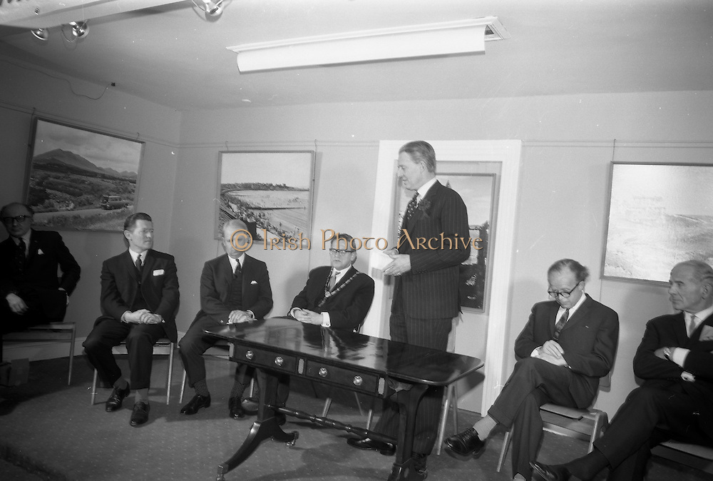 22/03/1966<br /> 03/22/1966<br /> 22 March 1966<br /> Northern Ireland tourist Board Exhibition at the Little Theatre, Brown Thomas in Dublin. Picture shows Mr Brendan O'Regan, Chairman of Bord Failte; Mr Brian Faulkner, Northern Ireland Minister of Commerce; Alderman Eugene Timmons, Lord Mayor of Dublin; Mr W.L. Stephens, Chairman Northern Ireland Tourist Board, speaking; Mr Erskine Childers, Minister for Transport and Power and Dr J.J. O'Driscoll, Director General, Bord Failte.