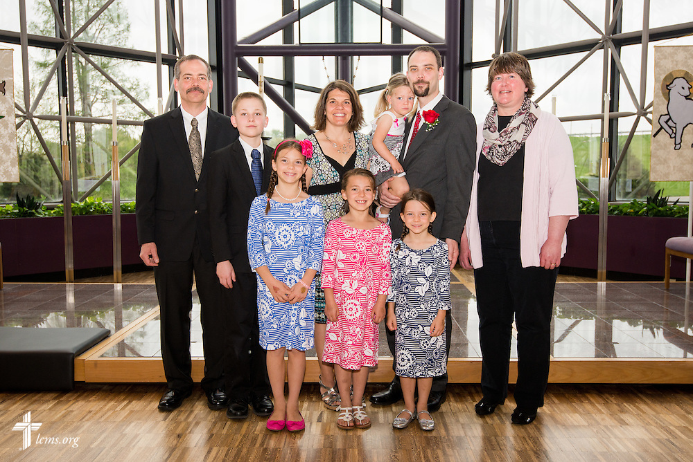 Group photograph of Christian J. Boehlke, director of Missionary Services at the LCMS, and his family following a Service of Installation for Boehlke at the International Center of The Lutheran Church--Missouri Synod on Monday, April 28, 2014, in Kirkwood, Mo. LCMS Communications/Erik M. Lunsford