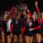 27 August 2016: The San Diego State Aztecs took on the Michigan State Spartans in game two of the Aztec Invitational at Peterson Gym on the campus of SDSU. The Aztecs lost 3-1 to the Spartans. www.sdsuaztecphotos.com