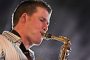 Simon Allen on Saxophone with the Tom Richards Orchestra at the Friday Tonic concert in 2008. Frontroom, Queen Elizabeth Hall, Southbank Centre, London