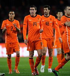 09-02-2011 VOETBAL: NEDERLAND - OOSTENRIJK: EINDHOVEN<br /> Netherlands in a friendly match with Austria won 3-1 / Ruud van Nistelrooy, Gregory van der Wiel and Kevin Strootman NED<br /> ©2011-WWW.FOTOHOOGENDOORN.NL