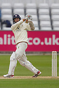 Chris Rushworth (Durham County Cricket Club) hits a six during the LV County Championship Div 1 match between Durham County Cricket Club and Hampshire County Cricket Club at the Emirates Durham ICG Ground, Chester-le-Street, United Kingdom on 3 September 2015. Photo by George Ledger.