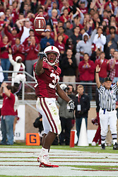October 23, 2010; Stanford, CA, USA;  Stanford Cardinal running back Stepfan Taylor (33) celebrates after scoring a touchdown against the Washington State Cougars during the second quarter at Stanford Stadium.