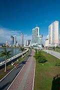 Panoramic view of Cinta Costera bayside road. Panama city, Panama, Central America.