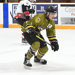 TRENTON, ON  - MAY 4,  2017: Canadian Junior Hockey League, Central Canadian Jr. &quot;A&quot; Championship. The Dudley Hewitt Cup. Game 5 between Powassan Voodoos and the Georgetown Raiders. Eric Nagy #5 of the Powassan Voodoos pursues the play during the first period.<br /> (Photo by Andy Corneau / OJHL Images)