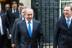 Downing Street, London, February 6th 2017. Israeli Prime Minister Benjamin Netanyahu leaves 10 Downing Street following lunchtime talks with British Prime Minister Theresa May.