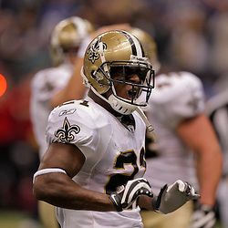2009 October 18: New Orleans Saints running back Mike Bell (21) celebrates after a touchdown during  the first half against the New York Giants at the Louisiana Superdome in New Orleans, Louisiana.