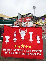 VILLRREAL, SPAIN - Thursday, April 28, 2016: Liverpool supporters outside the Estadio El Madrigal ahead of the UEFA Europa League Semi-Final 1st Leg match against Villarreal CF. (Pic by David Rawcliffe/Propaganda)