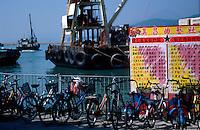 Bicycles line the pier on Cheung Chau Island, Hong Kong, China.