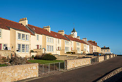 Row of historic terraced houses in West Wemyss in Fife , Scotland UK