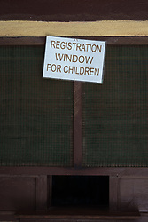 2 November 2019, Ganta, Liberia: Registration window for children, at Ganta Hospital. Located in Nimba county, the Ganta United Methodist Hospital serves tens of thousands of patients each year. It is a founding member of the Christian Health Association of Liberia.