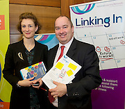 Mary Finn Linking IN and Senator Trevor O Clochartaigh  at the SCCUL awards at the Bailey Allen in NUIG. Photo:Andrew Downes