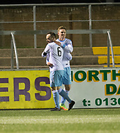 Martyn Fotheringham congraulates Josh Peters on his goal - Forfar Athletic v Dundee, Martyn Fotheringham testimonial at Station Park, Forfar.Photo: David Young<br /> <br />  - &copy; David Young - www.davidyoungphoto.co.uk - email: davidyoungphoto@gmail.com