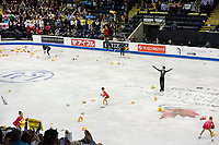 KELOWNA, BC - OCTOBER 26: Japanese figure skater Yuzuru Hanyu stands on the ice at the end of his performance during the men's long program / free skate of Skate Canada International held at Prospera Place on October 26, 2019 in Kelowna, Canada. (Photo by Marissa Baecker/Shoot the Breeze)