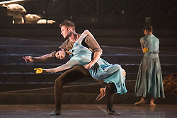 © Licensed to London News Pictures. 07/09/2015. London, UK. No Man's Land, choregraphy by Liam Scarlett. Max Westwell and Crystal Costa performing. Working rehearsal of Lest We Forget performed by dancers from the English National Ballet at Sadler's Wells theatre. Lest We Forget is a reflectionon the First World War. Performances from 8 to 12 September 2015. Photo credit : Bettina Strenske/LNP