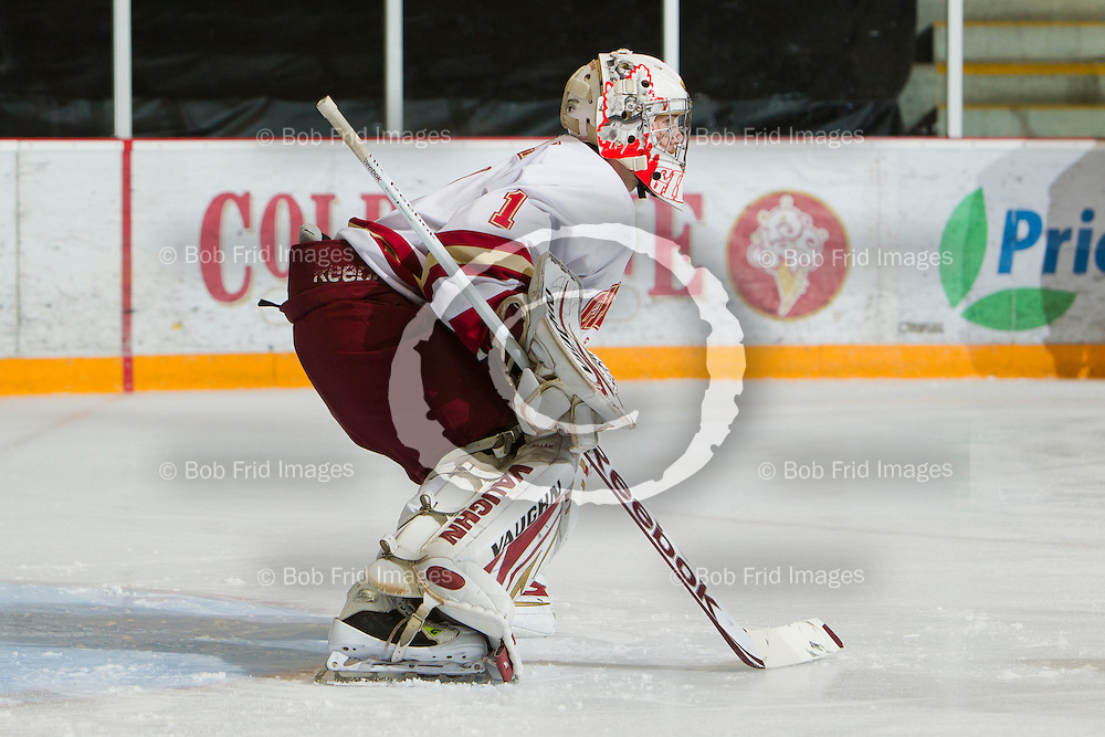 22 September 2012:  goalie Mitch Gillam (1) of the Chiefs  during a game between the Chilliwack Chiefs and the Victoria Grizzlies at  Prospera Centre, Chilliwack, BC.    Final Score: Chilliwack 2  Victoria 4   ****(Photo by Bob Frid - All Rights Reserved 2012): mobile: 778-834-2455 : email: bob.frid@shaw.ca ****