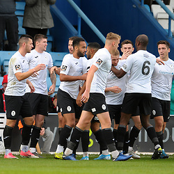 TELFORD COPYRIGHT MIKE SHERIDAN GOAL. Aaron Williams of Telford (far left) scores to make it 1-0 during the Vanarama National League Conference North fixture between AFC Telford United and Guiseley on Saturday, October 19, 2019.<br /> <br /> Picture credit: Mike Sheridan/Ultrapress<br /> <br /> MS201920-026