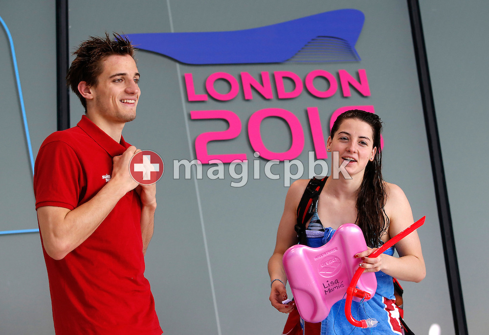 Luca PFYFFER and Lisa MAMIE of Switzerland are pictured during a training session one day prior to the start of the LEN European Swimming Championships held at the London Aquatics Centre in London, Great Britain, Sunday, May 15, 2016. (Photo by Patrick B. Kraemer / MAGICPBK)