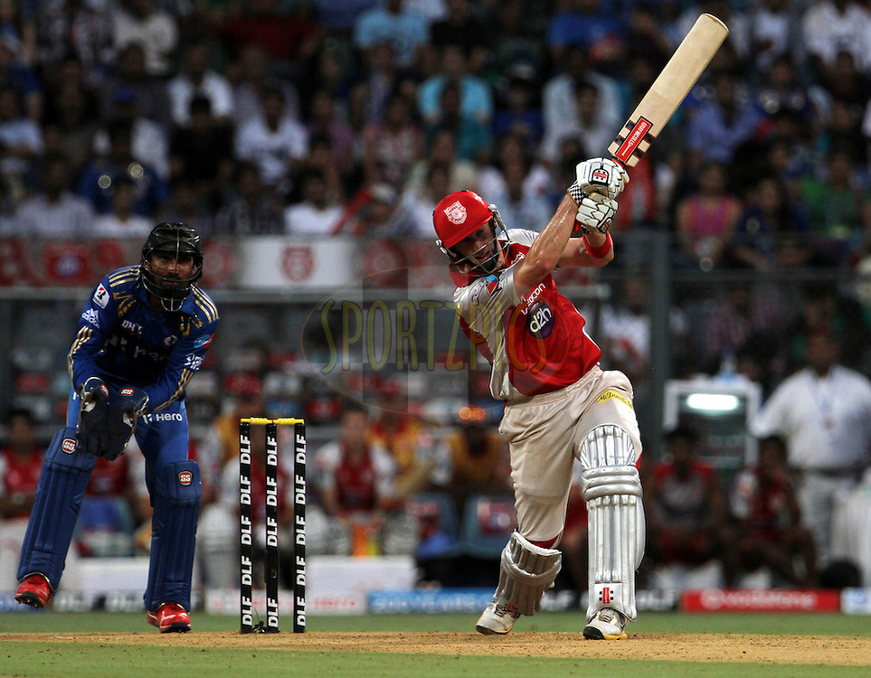 Kings XI Punjab player David Hussey plays a shot during match 28 of the Indian Premier League ( IPL) 2012  between The Mumbai Indians and the Kings X1 Punjab held at the Wankhede Stadium in Mumbai on the 22nd April 2012..Photo by: Vipin Pawar/IPL/SPORTZPICS