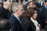2013/03/23 Roma, funerali del Capo della Polizia. Nella foto Walter Veltroni con la moglie.<br /> Rome, Chief of Police funerals. In the picture Walter Veltroni with his wife - &copy; PIERPAOLO SCAVUZZO