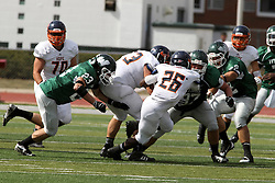 28 September 2013:  Shawn Jackson's path is blocked by Joe Schneider during an NCAA division 3 football game between the Hope College Flying Dutchmen and the Illinois Wesleyan Titans in Tucci Stadium on Wilder Field, Bloomington IL