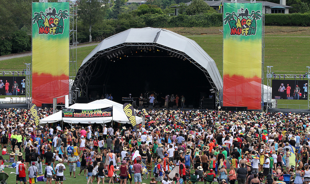 A crowd of 20,000 reggae fans dressed up  for the occasion at the Raggamuffin Festival, Rotorua, New Zealand, Saturday, January 28, 2012. Credit:SNPA / Peter Graney.