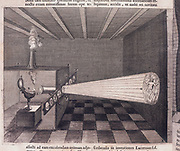 First illustration of a magic lantern. From ' Ars Magna ...' by Athanasius Kircher (Amsterdam, 1671).