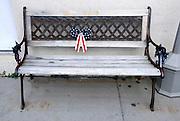 USA, Idaho, Valley County, Cascade, Patriotic Bench on Main Street