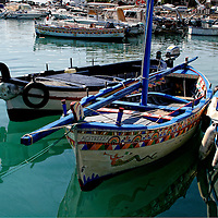 Colorful  boats at Acitrezza, Italy