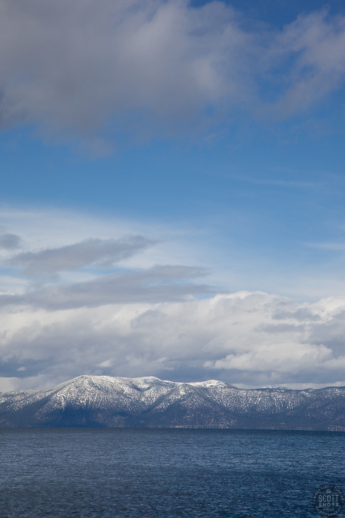 """""""Lake Tahoe 5"""" - This cloudy scene was photographed from the West shore of Lake Tahoe."""