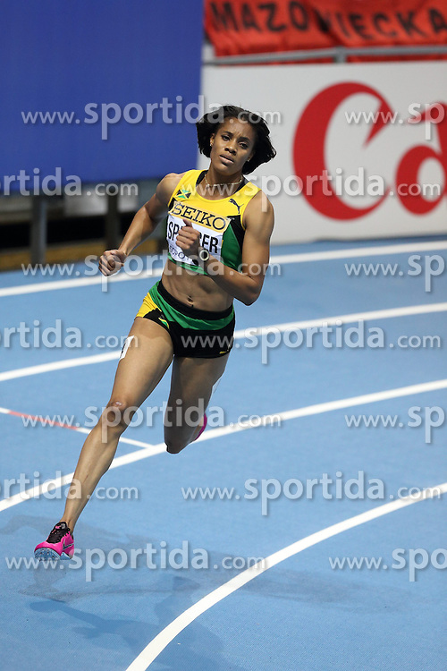 08.03.2014, Ergo Arena, Sopot, POL, IAAF, Leichtathletik Indoor WM, Sopot 2014, im Bild Francena McCorory (USA) wins 400 Metres final Keliese Spencer (pictured) compaetite during the run // Francena McCorory (USA) wins 400 Metres final Keliese Spencer (pictured) compaetite during the run during day two of IAAF World Indoor Championships Sopot 2014 at the Ergo Arena in Sopot, Poland on 2014/03/08. EXPA Pictures © 2014, PhotoCredit: EXPA/ Newspix/ Michal Fludra<br /> <br /> *****ATTENTION - for AUT, SLO, CRO, SRB, BIH, MAZ, TUR, SUI, SWE only*****